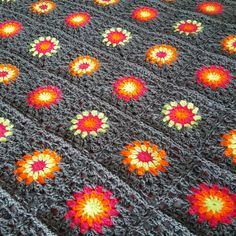 Striking Grey Neon Crochet BLANKET Retro Sunburst by Thesunroomuk
