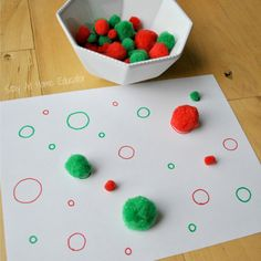 Sort and matching pom poms to teach measurement to preschoolers - Stay At Home Educator