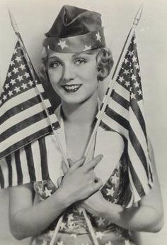"actress/model: Leila Hyams looking patriotic, holding two versions of our flag ""Old Glory"" American Spirit, American Pride, American History, American Idol, Vintage Pictures, Vintage Images, Vintage Films, Vintage Romance, Vintage Ladies"