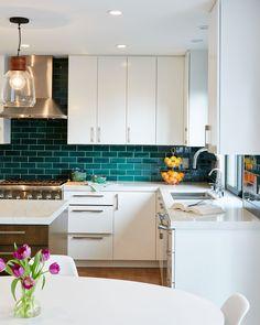 Handmade Ceramic Kitchen Tile Projects by Mercury Mosaics Kitchen Furniture, Kitchen Dining, Kitchen Cabinets, Blue Kitchen Backsplash, Kitchen Counters, Island Kitchen, Kitchen Faucets, Backsplash Tile, Wood Furniture