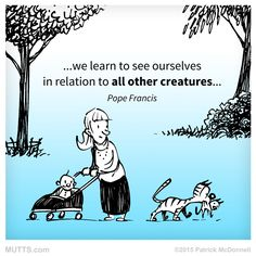 """""""... we learn to see ourselves in relation to all other creatures ..."""" - Pope Francis"""