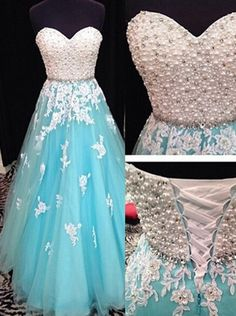 Buy Luxurious A-line Sweetheart Pearl Applique Floor-length Prom Dresses/Quinceanera Dresses/Party Dresses TUPD-7346 Ball Gown Dresses under US$ 214.99 only in SimpleDress.