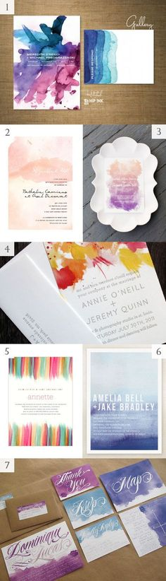 @tstonee Stationery: Watercolor wedding invitations (and other ideas to incorporate watercolors into your wedding--especially love the watercolor of the dress)!