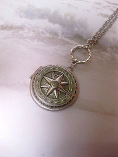 Silver Compass Locket Journey Necklace  by FashionCrashJewelry