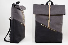 Rolltop backpack big with laptop locker cork backpack black canvas dark grey water repellent vegan - Ideen , Diy Backpack, Black Backpack, Leather Backpack, Leather Bag, Techniques Couture, Creation Couture, Craft Bags, Oeko Tex 100, Girl Backpacks