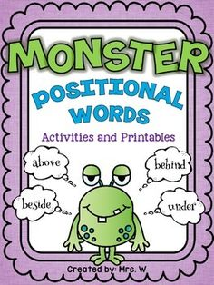 Monster Positional Words - Freebie! And sooo adorable. Kids will LOVE this!