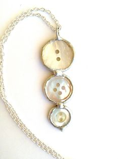 Button Pendant Necklace, Vintage Mother of Pearl Jewelry, Button Necklace, Soldered Pendant, Silver Chain. $18.00, via Etsy.