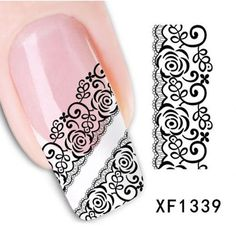 1 Sheet Black Lace Flowers Watermark Nail Sticker, Water Transfer Nail Decals For UV Gel Polish Nail Decoration Tools