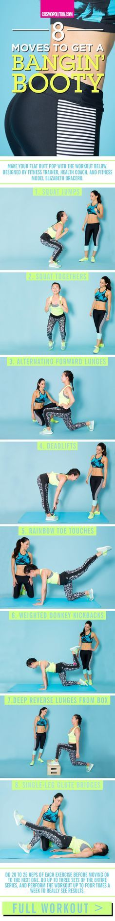 HOW TO GET A BIGGER BUTT: Give your backside a sexy pop (and strength) with this workout and these fitness tips from fitness trainer, health coach, and fitness model Elizabeth Bracero. Do these butt moves at home or at the gym — this simple workout can be done anywhere. Click through for the full workout info and instructional gifs that teach you how to correctly do each move.