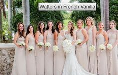 Watters bridesmaids dresses in French Vanilla