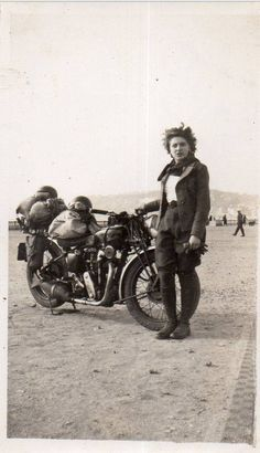 prev pinner: Girl and her motorcycle ~vintage fashion style photo print found leather jacket riding pants boots casual sports wear ? Motos Vintage, Vintage Biker, Vintage Mode, Lady Biker, Biker Girl, Harley Davidson, Retro Motorcycle, Norton Motorcycle, Motorcycle Helmets