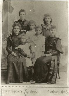 The seven daughters born to Hiram & Laura Ladocia (Ingalls) Forbes. Their parents are referred to as Uncle Hi & Aunt Docia in Laura Ingalls Wilder book, By the Shores of Silver Lake.