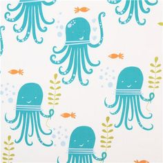 white monaluna sea animal organic fabric octopus party 2