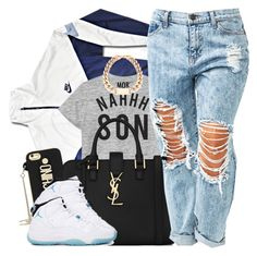 NahhH SoN by oh-aurora on Polyvore featuring polyvore fashion style NIKE Yves Saint Laurent Moschino