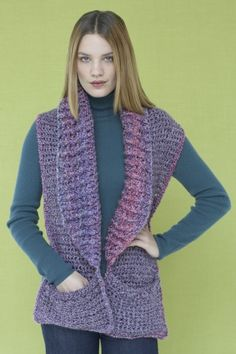 Perfect Pocketed Shawl - Free Crochet Pattern - See http://www.ravelry.com/patterns/library/perfect-pocketed-shawl For Additional Projects - (joann.lionbrand)
