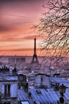 Premium Thick-Wrap Canvas Wall Art Print entitled View of Eiffel Tower and Paris roofs from Montmartre at sunset, Paris, France. Paris Tour, Oh Paris, Pink Paris, Montmartre Paris, Places To Travel, Places To See, Torre Eiffel Paris, Beautiful Paris, Paris Ville