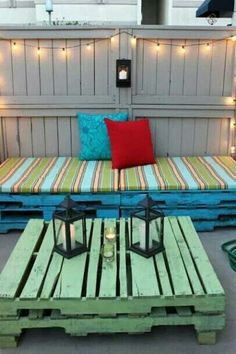 repurposed pallets for garden seating.