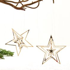 Star 3D, metal, silver, hanging,