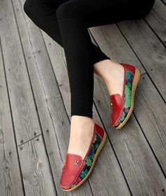 Women's #red leather casual floral slip on shoe #loafers, breathable, oranment decorated on vamp, Round toe design, casual leisure occasions.