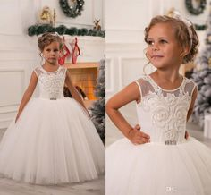 2016 New Cute Flower Girls Dresses For Weddings Jewel Neck Cap Sleeves Pearl Birthday Dress Floor Length Children Party Kids Girl Ball Gowns Online with $79.4/Piece on Yes_mrs's Store | DHgate.com