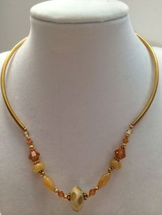 Beautiful gold  lamp work tube necklace by RealBeadDesigns on Etsy