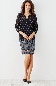 night sky border-print dress