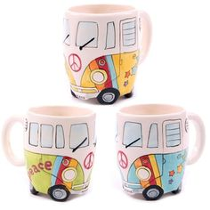 Click that link to learn more about Funky Novelty Psychedelic Camper Van Design Ceramic Mug by weeabootique!