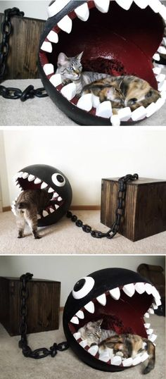 Crazy Cat Bed Idea Inspired By Super Mario's Chain Chomp Monster funny games cat cats cool adorable kittens interesting Crazy Cat Lady, Crazy Cats, I Love Cats, Cool Cats, Animals And Pets, Cute Animals, Cat Room, Here Kitty Kitty, Kitty Cats