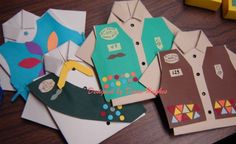 Girl Scout vest invitations - great for End of Year or Bridging ceremonies! Could do Boy Scouts Girl Scout Vest, Girl Scout Swap, Girl Scout Leader, Girl Scout Troop, Brownie Girl Scouts, Girl Scout Cookies, Girl Scout Bridging, Girl Scout Activities, Girl Scout Camping