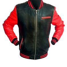 Deals Offers New Design 2018 Red and Black Varsity Letterman Full Leather Jacket (L)