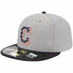 New Era Cleveland Indians Stars   Stripes 4th of July Diamond Era On-Field  Performance 59FIFTY Fitted Hat - Gray Navy Blue 5c4b9f46bfea