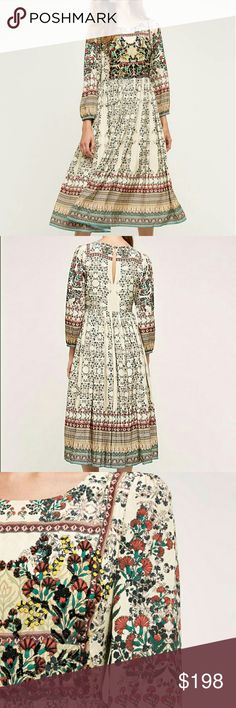 """Anthropologie Far Fields Midi Dress Absolutely GORGEOUS  long sleeve midi dress in a floral pattern. Embroidered detail. Button back. Dry clean Regular falls 47"""" from shoulder. Anthropologie Dresses"""