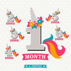 Monthly Baby Milestone files, Baby Monthly Milestone SVG files, Unicorn Milestone, Girl Milestone sticker files, Month 1 thru Month 6 Unicorn Birthday Parties, 8th Birthday, Unicorn Party, Baby Monthly Milestones, Monthly Baby, Baby Stickers, Create Shirts, Baby Month By Month, Transfer Paper