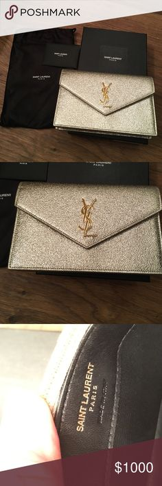 Saint Laurent bag Pale gold bag with detachable chain. Barely used. Comes with box and dust bag Yves Saint Laurent Bags Mini Bags