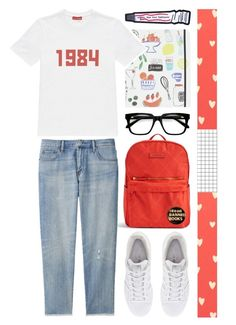 """""""banned books"""" by foundlostme ❤ liked on Polyvore featuring Kate Spade, Vera Bradley, Gosha Rubchinskiy, Uniqlo, adidas, THEATRE PRODUCTS, Sandberg Furniture, books and pins"""