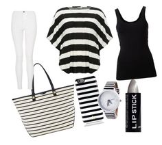 """""""Get Stripey!"""" by ahriraine ❤ liked on Polyvore featuring M&Co, Theory, Rebecca Minkoff, Quiz, Kate Spade and plus size clothing"""