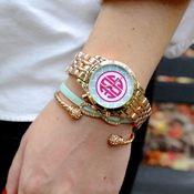 Hot Pink & Mint Rose Gold Monogrammed Trellis watch, Infinity bracelet and cable cuff bangle.
