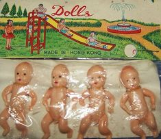 Vintage 1950's Plastic Dime Store Miniature Jointed Dolls MOC - Hong Kong by socal72girl, via Flickr