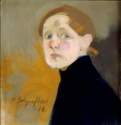 Helene Schjerfbeck (Finnish painter) 1862 - 1946 Self-Portrait, 1912 oil on canvas x 42 cm.) signed and dated low left Art Painting, Helene Schjerfbeck, Artist Inspiration, Figure Painting, Painter, Artist, Painting, Portrait Painting, Portrait Art