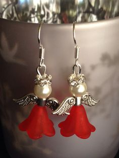 Red angel Christmas earrings