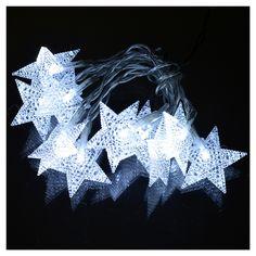 Illuminazione di Natale set 10 stelle led bianco ghiaccio   vendita online su HOLYART