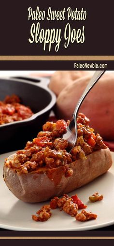No beauty, but a beast of a meal…baked sweet potatoes with a hearty, veggie-infused sloppy joe mix. Kids especially dig this fun meal. Fast, easy and so good! #paleo #glutenfree
