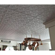 Global Specialty Products Dimensions Faux 2 ft. x 4 ft. Glue-up Tin Style Surface Mount Ceiling Tile in White - 209-50 - The Home Depot