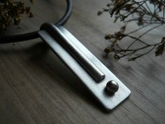 mens sterling silver pendant,  to the point, unisex, bold, linear, geometric, simple, industrial, masculine, ready to ship
