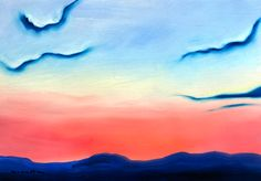 William Van Doren » Clear License. Sunset from Stony Point, Albemarle County, Virginia.   Oil on watercolor block, 13x19.
