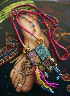 "SAUTOIR BOHEME HIPPIE CHIC FOLK - COLLIER BOHEME INDIAN KITSCH ""Jaipur"" : Collier par fujigirls"
