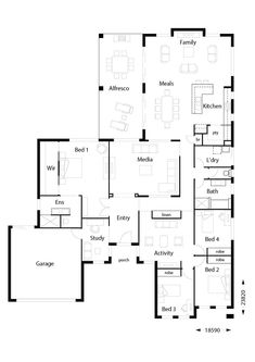 Infinity 319 - Hallmark Homes 4 Bedroom House Plans, Family House Plans, Dream House Plans, House Floor Plans, Build Your Own House, Build Your Dream Home, First Home Owners, Double Storey House, Hallmark Homes