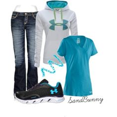 """Under Armour"" by sandbunny on Polyvore, cute and comfy for football season"