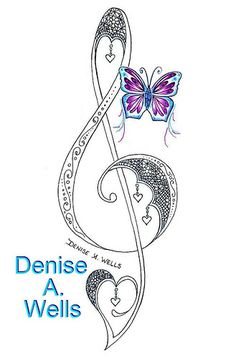 Lace Treble Clef Tattoo Design by Denise A. Wells