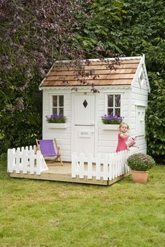 Lawn & Garden:Amazing White Modern Painted Wood Backyard Garden Playhouse Design Ideas With White Rectangle Painted Wood Door Also Double Window Added White Wood Fence Simple Garden Playhouse Inspiration for Your Kids